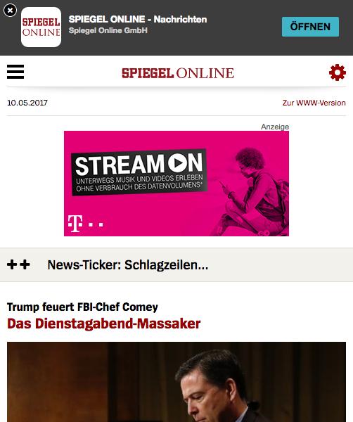 Die mobile Version von Spiegel Online mit Werbung und App-Download-Aufforderung.
