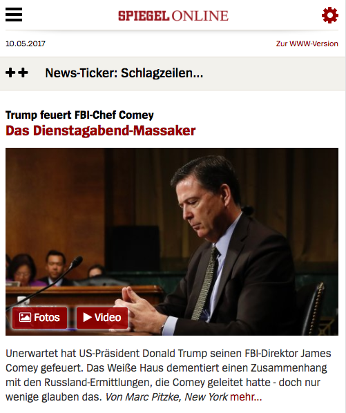 Die mobile Version von Spiegel Online ohne störende Werbung.